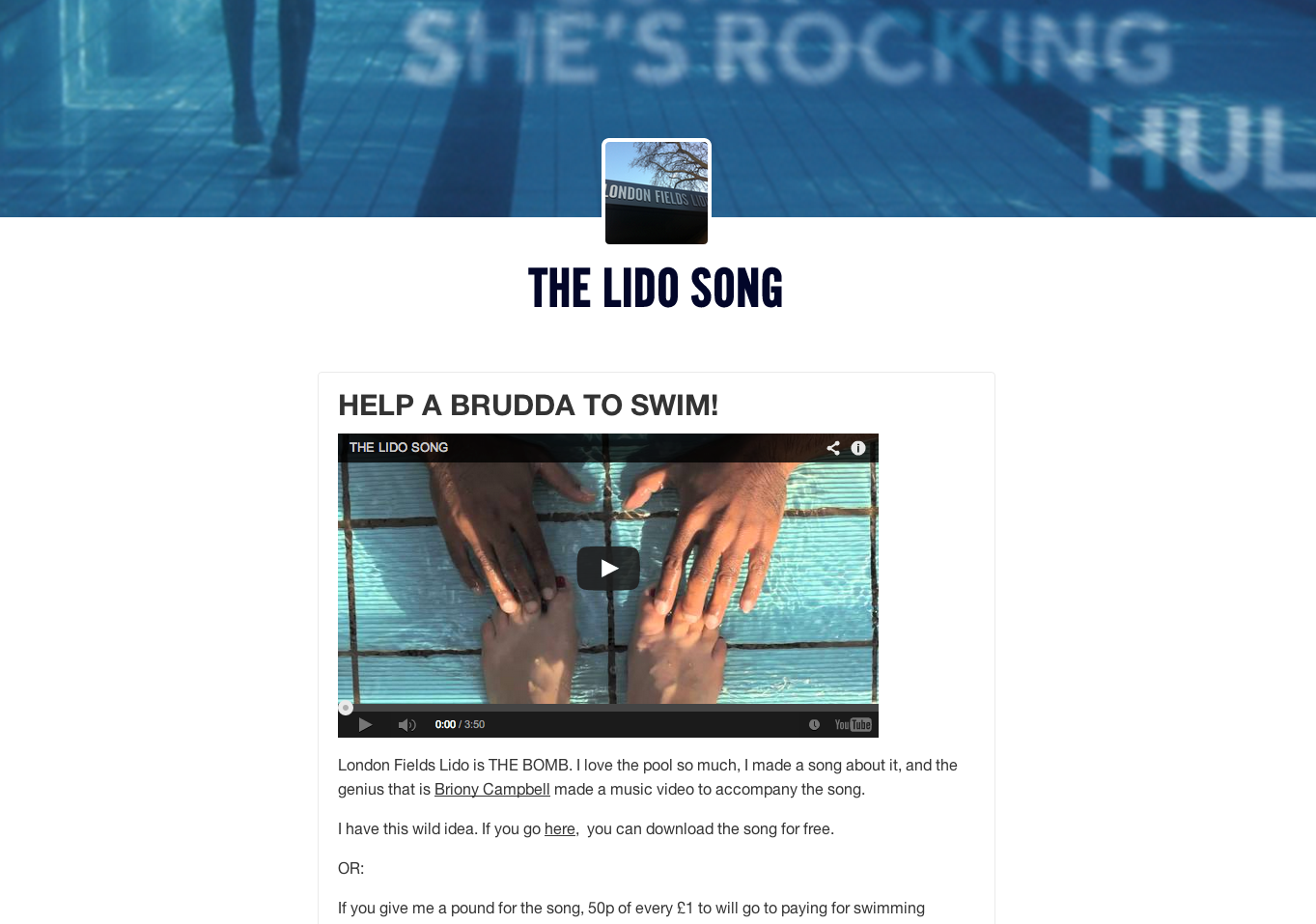 Video > The Lido Song by Shane Solanki : Music for social good