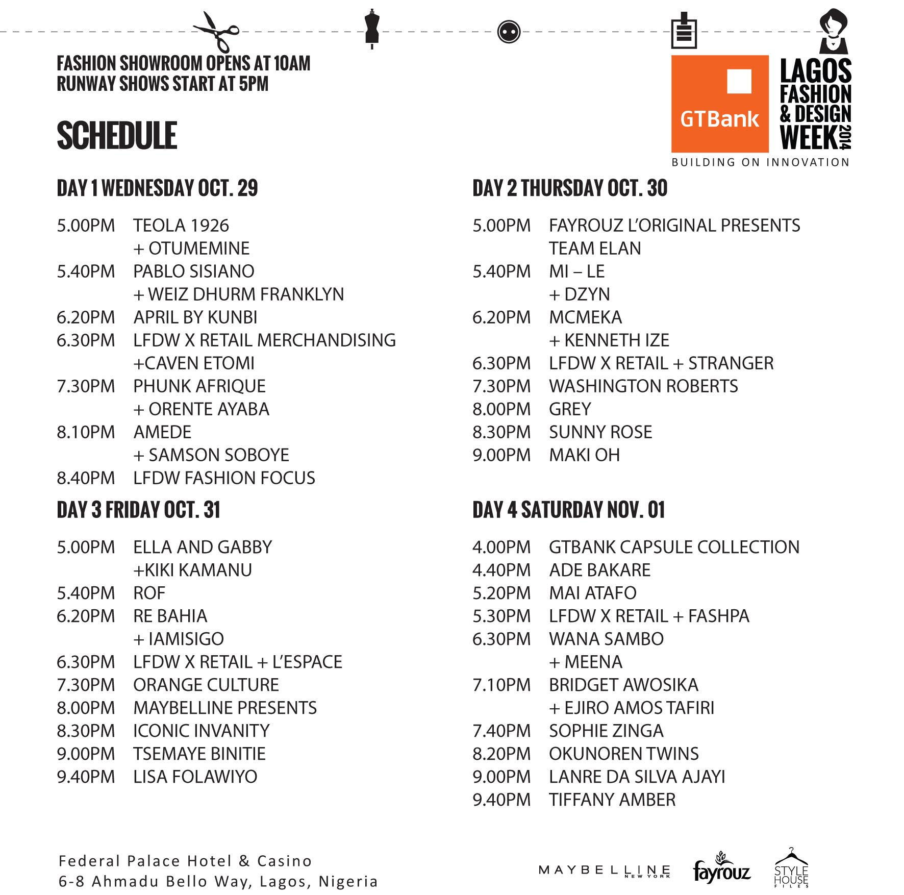 Events Schedule for the Lagos Fashion & Design Week 2014