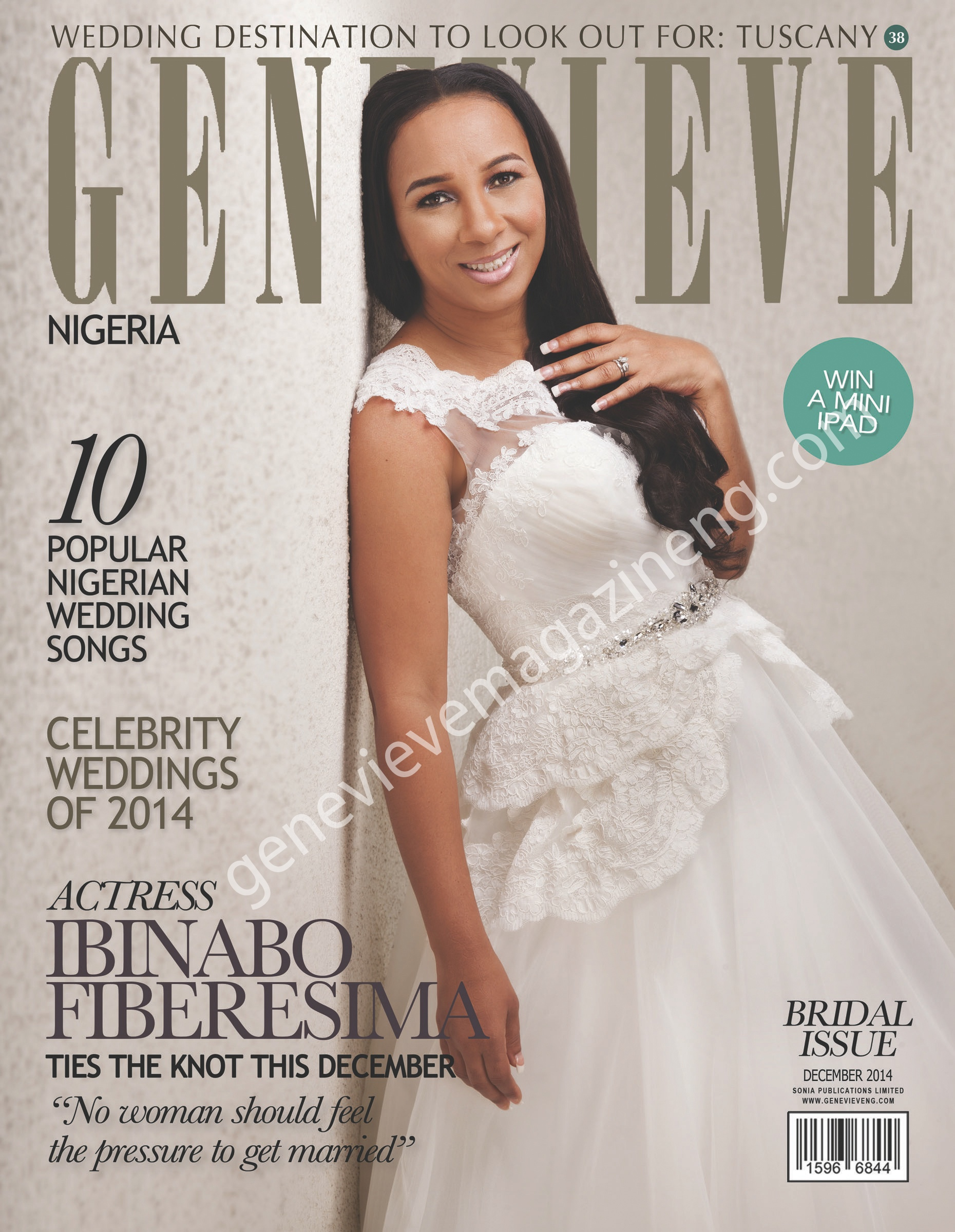 Nigerian actress, Ibinabo Fiberesima covers Genevieve Magazine's Bridal (December) Issue