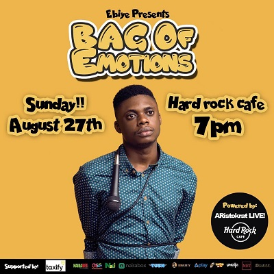 Comedian Ebiye Headlines First Comedy Show BAG OF EMOTIONS At HardRock Cafe Lagos